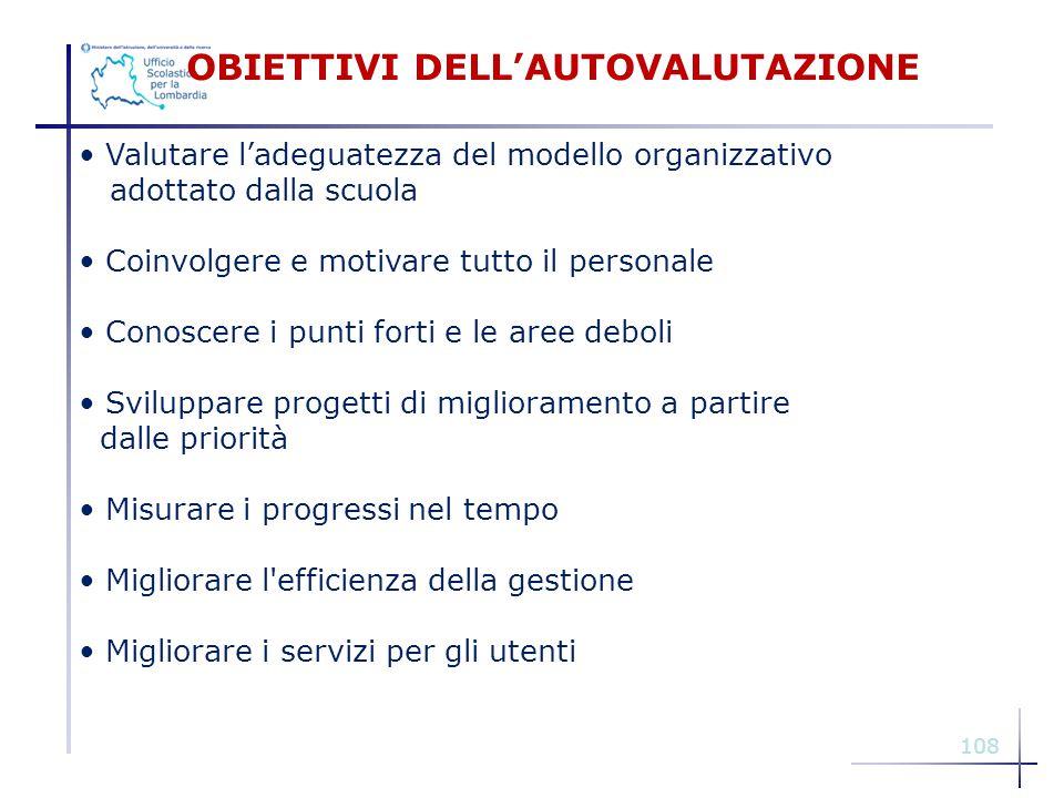 108 OBIETTIVI DELL'AUTOVALUTAZIONE Valutare l'adeguatezza del modello organizzativo adottato dalla scuola Coinvolgere e motivare tutto il personale Co