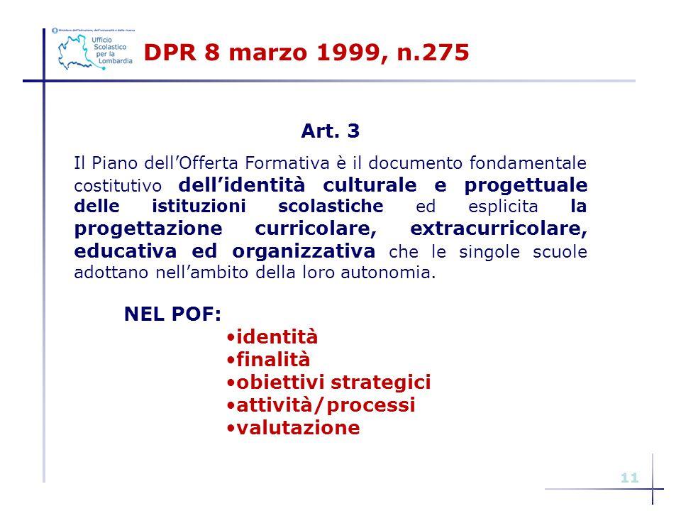 11 DPR 8 marzo 1999, n.275 Art. 3 Il Piano dell'Offerta Formativa è il documento fondamentale costitutivo dell'identità culturale e progettuale delle