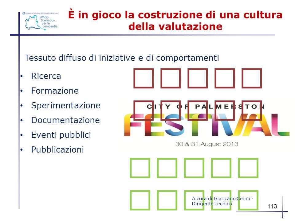 È in gioco la costruzione di una cultura della valutazione Ricerca Formazione Sperimentazione Documentazione Eventi pubblici Pubblicazioni Tessuto dif