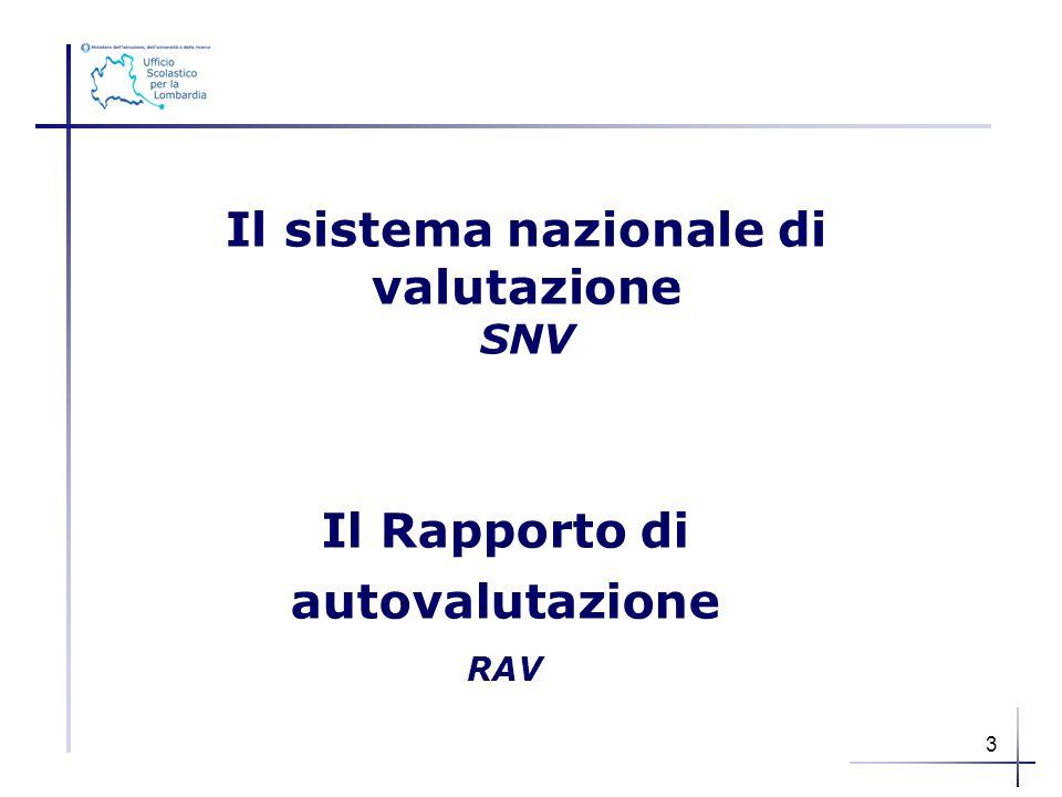 Il Rapporto di autovalutazione RAV Il sistema nazionale di valutazione SNV 3
