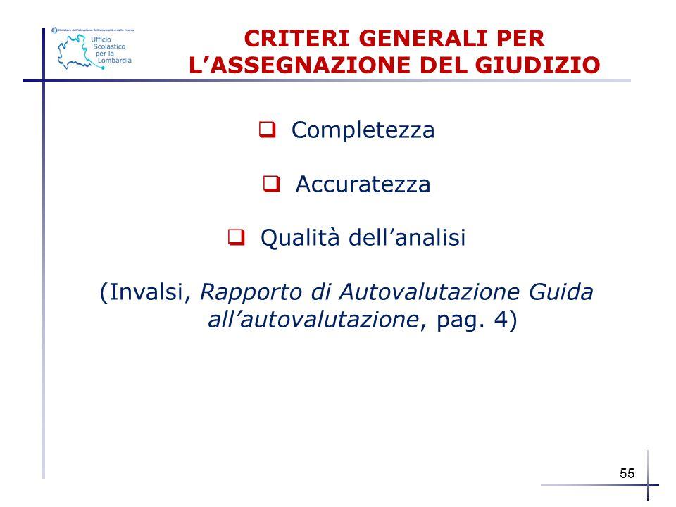  Completezza  Accuratezza  Qualità dell'analisi (Invalsi, Rapporto di Autovalutazione Guida all'autovalutazione, pag. 4) CRITERI GENERALI PER L'ASS