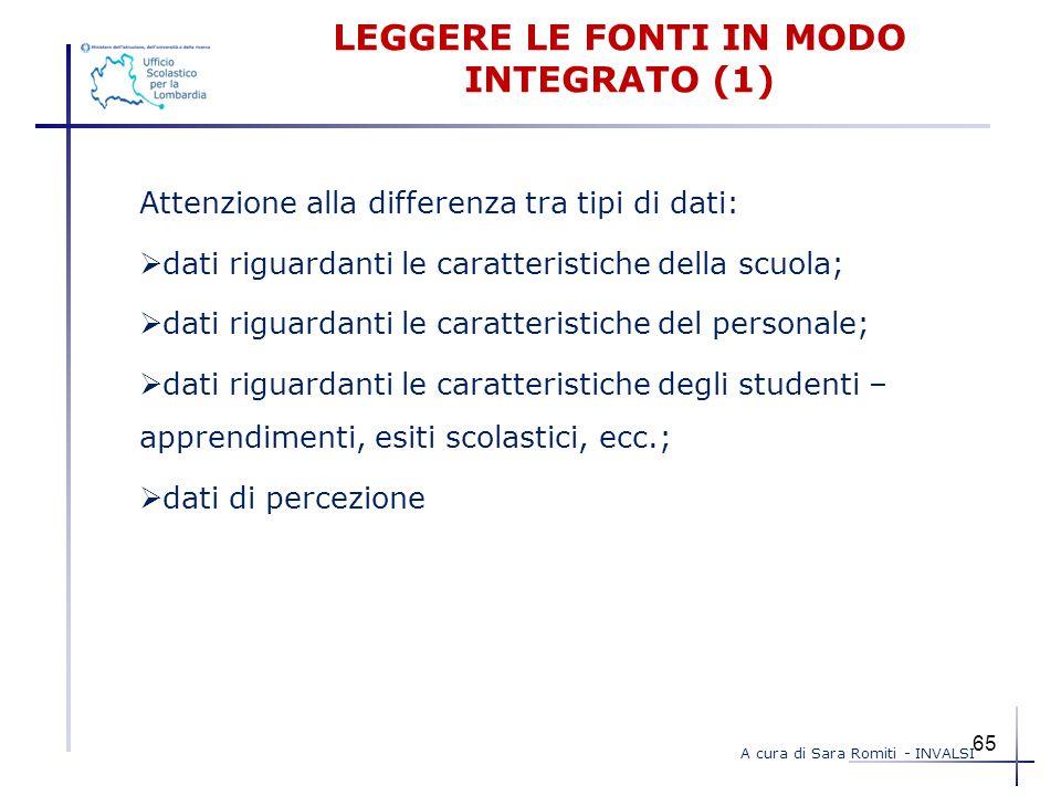 LEGGERE LE FONTI IN MODO INTEGRATO (1) Attenzione alla differenza tra tipi di dati:  dati riguardanti le caratteristiche della scuola;  dati riguard