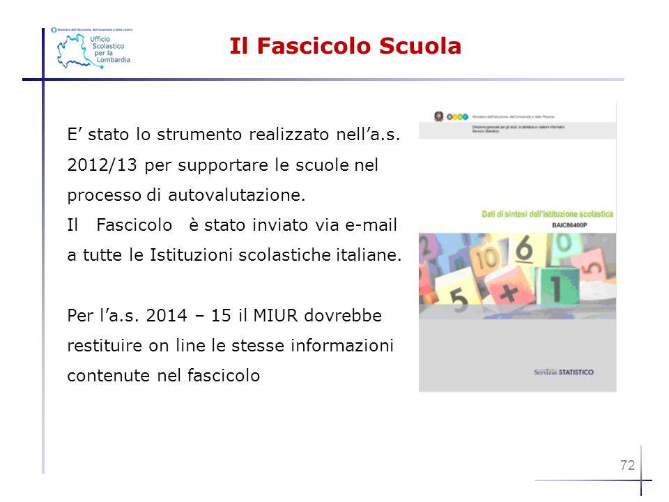 Il Fascicolo Scuola E' stato lo strumento realizzato nell'a.s. 2012/13 per supportare le scuole nel processo di autovalutazione. Il Fascicolo è stato