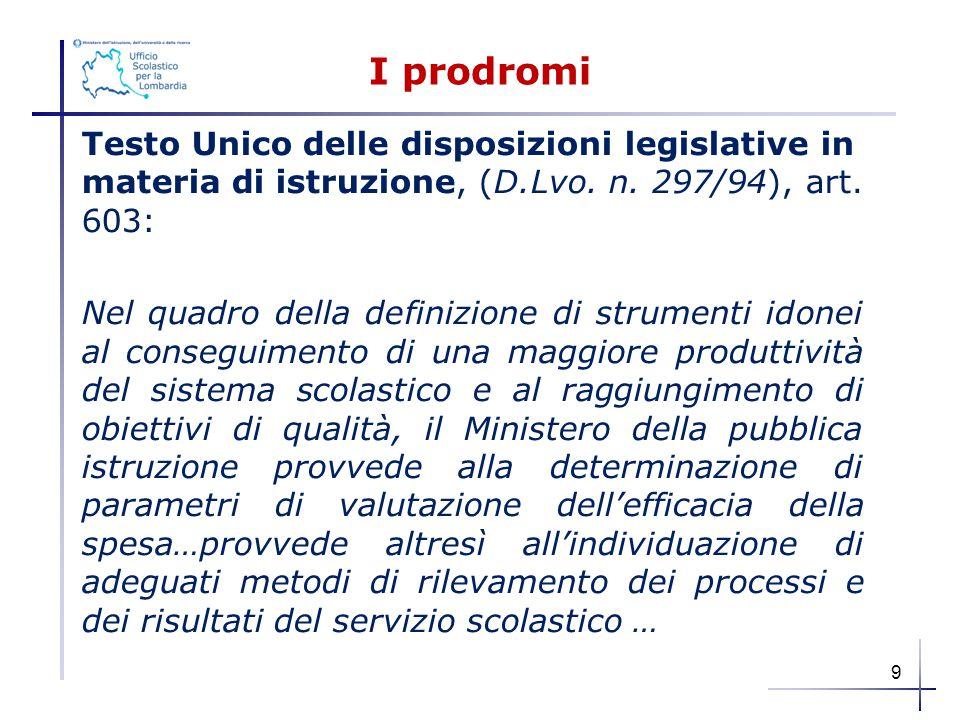 I prodromi Testo Unico delle disposizioni legislative in materia di istruzione, (D.Lvo. n. 297/94), art. 603: Nel quadro della definizione di strument