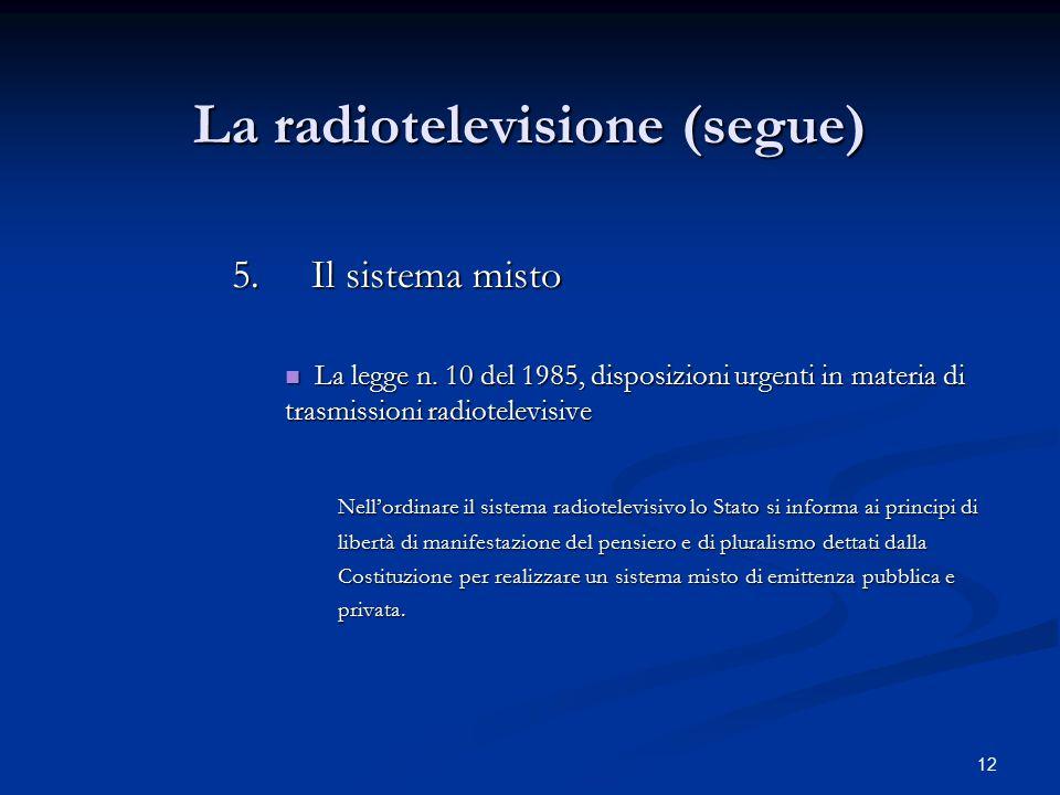 12 La radiotelevisione (segue) 5.Il sistema misto La legge n. 10 del 1985, disposizioni urgenti in materia di trasmissioni radiotelevisive La legge n.