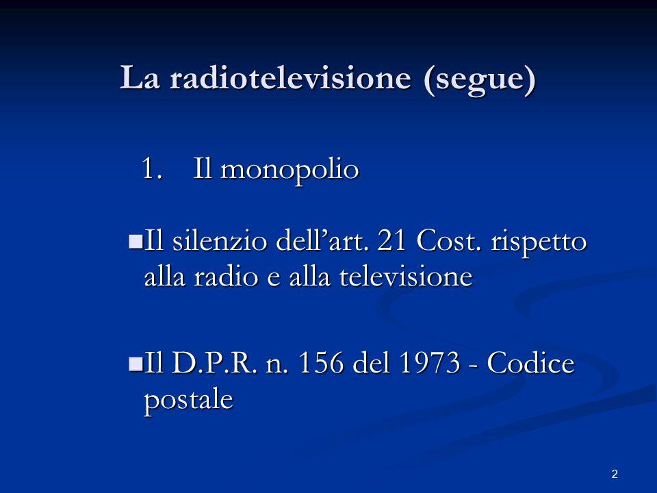 2 La radiotelevisione (segue) 1.Il monopolio 1.Il monopolio Il silenzio dell'art. 21 Cost. rispetto alla radio e alla televisione Il silenzio dell'art