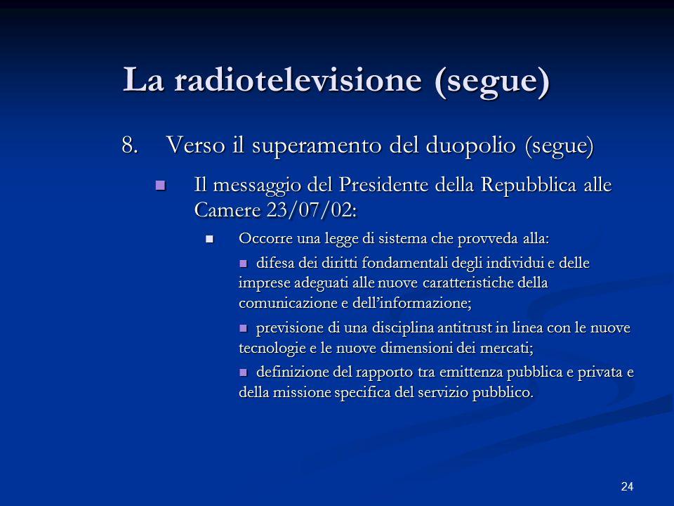 24 La radiotelevisione (segue) 8.Verso il superamento del duopolio (segue) Il messaggio del Presidente della Repubblica alle Camere 23/07/02: Il messa