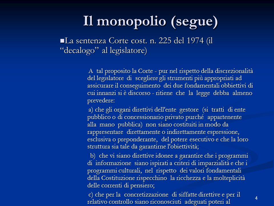 """4 Il monopolio (segue) La sentenza Corte cost. n. 225 del 1974 (il """"decalogo"""" al legislatore) La sentenza Corte cost. n. 225 del 1974 (il """"decalogo"""" a"""