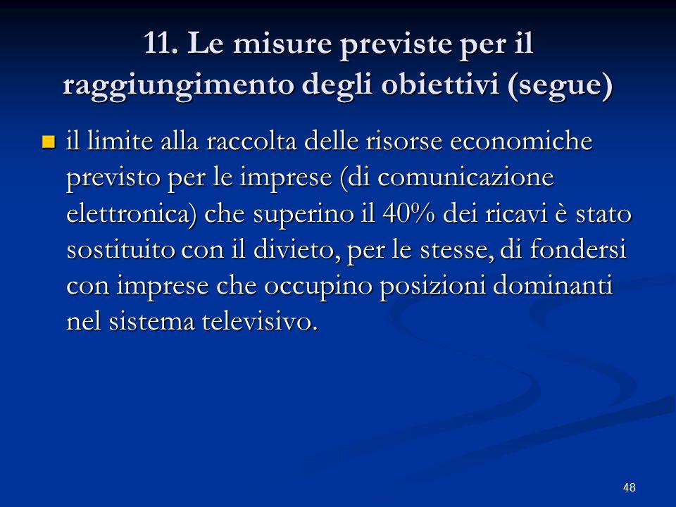 48 11. Le misure previste per il raggiungimento degli obiettivi (segue) il limite alla raccolta delle risorse economiche previsto per le imprese (di c