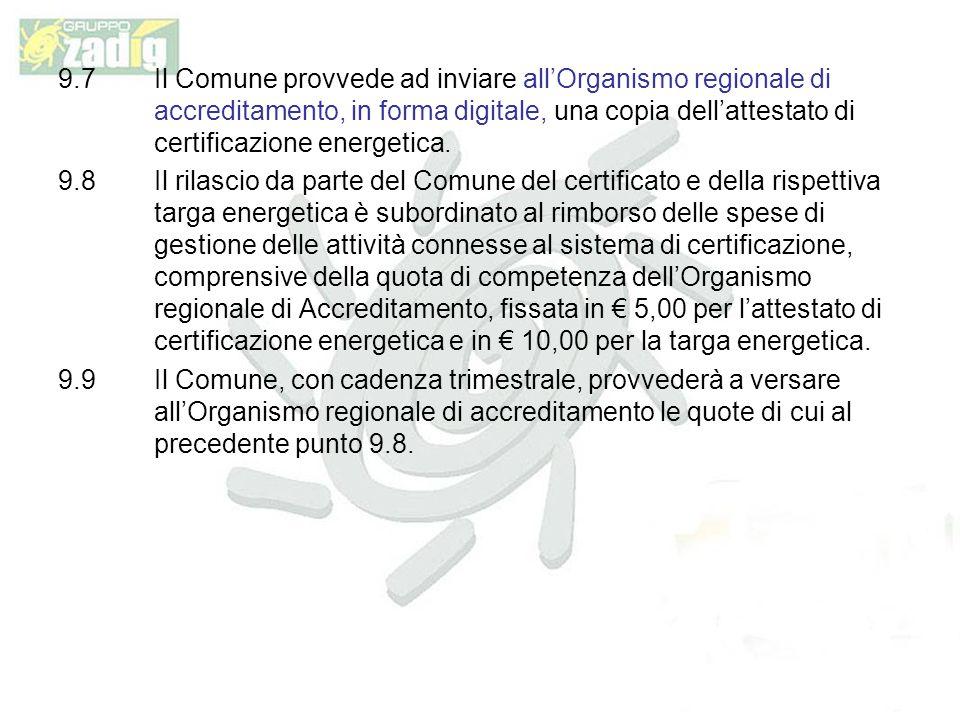 9.7 Il Comune provvede ad inviare all'Organismo regionale di accreditamento, in forma digitale, una copia dell'attestato di certificazione energetica.