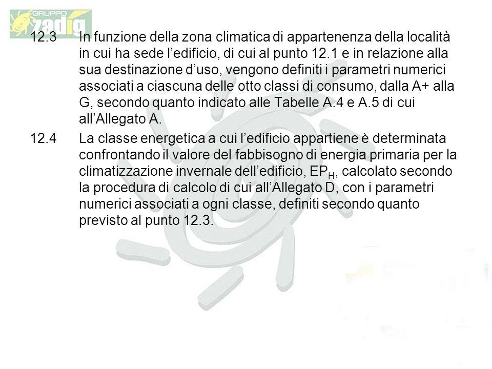 12.3 In funzione della zona climatica di appartenenza della località in cui ha sede l'edificio, di cui al punto 12.1 e in relazione alla sua destinazione d'uso, vengono definiti i parametri numerici associati a ciascuna delle otto classi di consumo, dalla A+ alla G, secondo quanto indicato alle Tabelle A.4 e A.5 di cui all'Allegato A.
