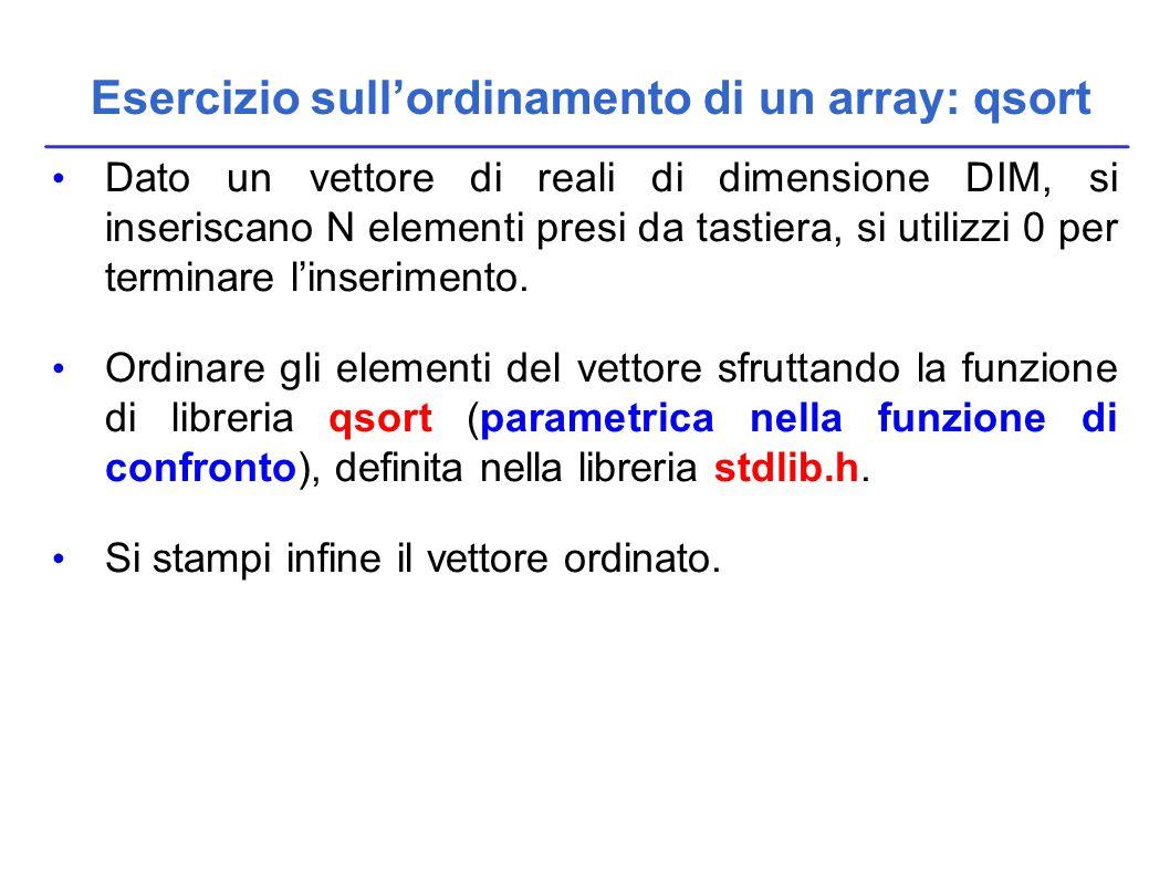 Dato un vettore di reali di dimensione DIM, si inseriscano N elementi presi da tastiera, si utilizzi 0 per terminare l'inserimento.
