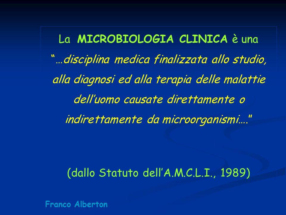 """La MICROBIOLOGIA CLINICA è una """"…disciplina medica finalizzata allo studio, alla diagnosi ed alla terapia delle malattie dell'uomo causate direttament"""
