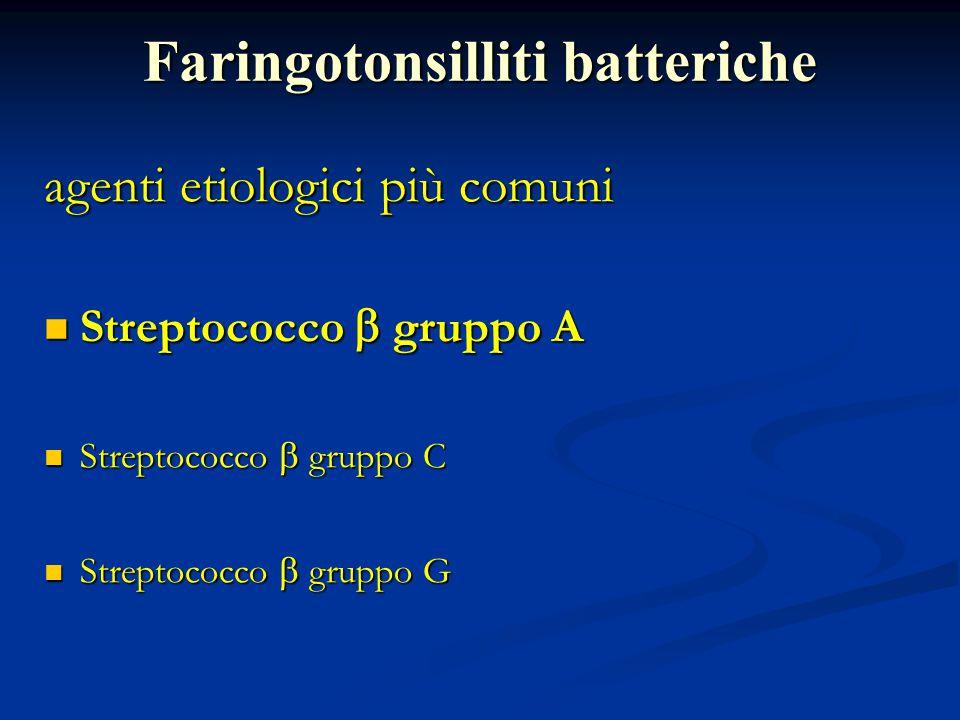 Faringotonsilliti batteriche agenti etiologici più comuni Streptococco  gruppo A Streptococco  gruppo A Streptococco  gruppo C Streptococco  grupp