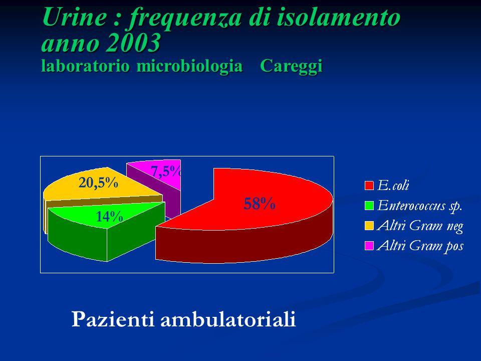 Urine : frequenza di isolamento anno 2003 laboratorio microbiologia Careggi 14% Pazienti ambulatoriali 58% 20,5% 7,5%