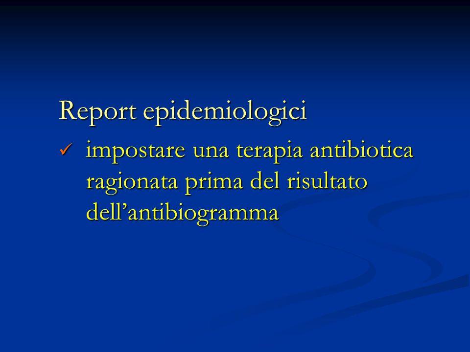 Report epidemiologici impostare una terapia antibiotica ragionata prima del risultato dell'antibiogramma impostare una terapia antibiotica ragionata p