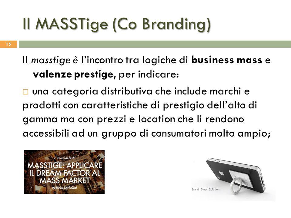 Il MASSTige (Co Branding) 15 Il masstige è l'incontro tra logiche di business mass e valenze prestige, per indicare:  una categoria distributiva che