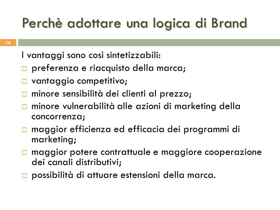 Perchè adottare una logica di Brand 16 I vantaggi sono così sintetizzabili:  preferenza e riacquisto della marca;  vantaggio competitivo;  minore s