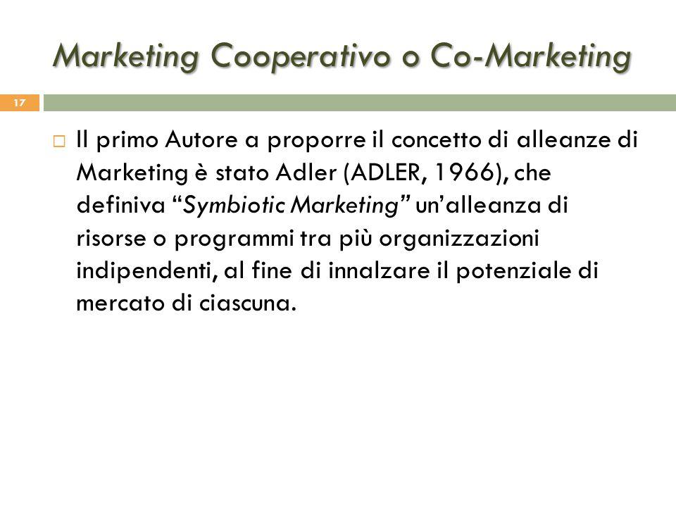 """Marketing Cooperativo o Co-Marketing 17  Il primo Autore a proporre il concetto di alleanze di Marketing è stato Adler (ADLER, 1966), che definiva """"S"""