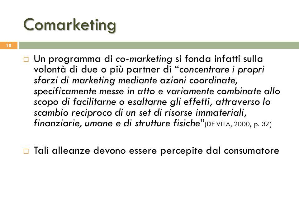 """Comarketing 18  Un programma di co-marketing si fonda infatti sulla volontà di due o più partner di """"concentrare i propri sforzi di marketing mediant"""