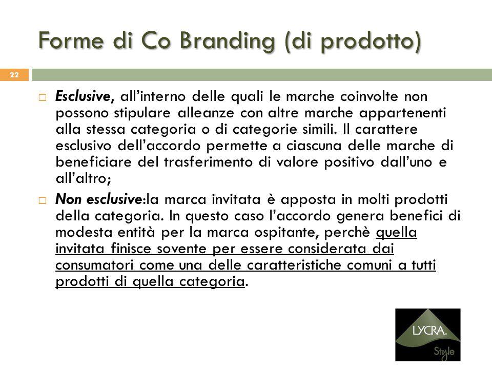 Forme di Co Branding (di prodotto) 22  Esclusive, all'interno delle quali le marche coinvolte non possono stipulare alleanze con altre marche apparte