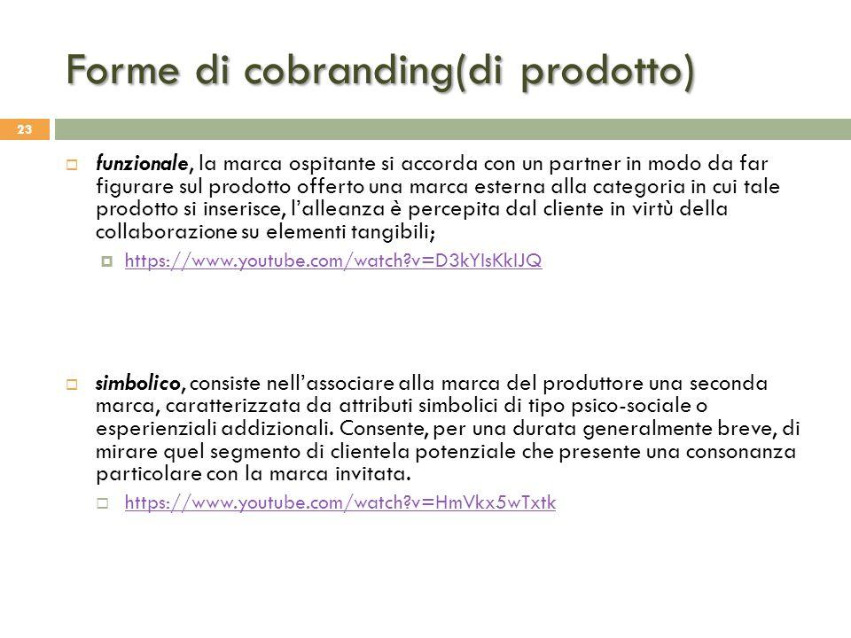 Forme di cobranding(di prodotto) 23  funzionale, la marca ospitante si accorda con un partner in modo da far figurare sul prodotto offerto una marca