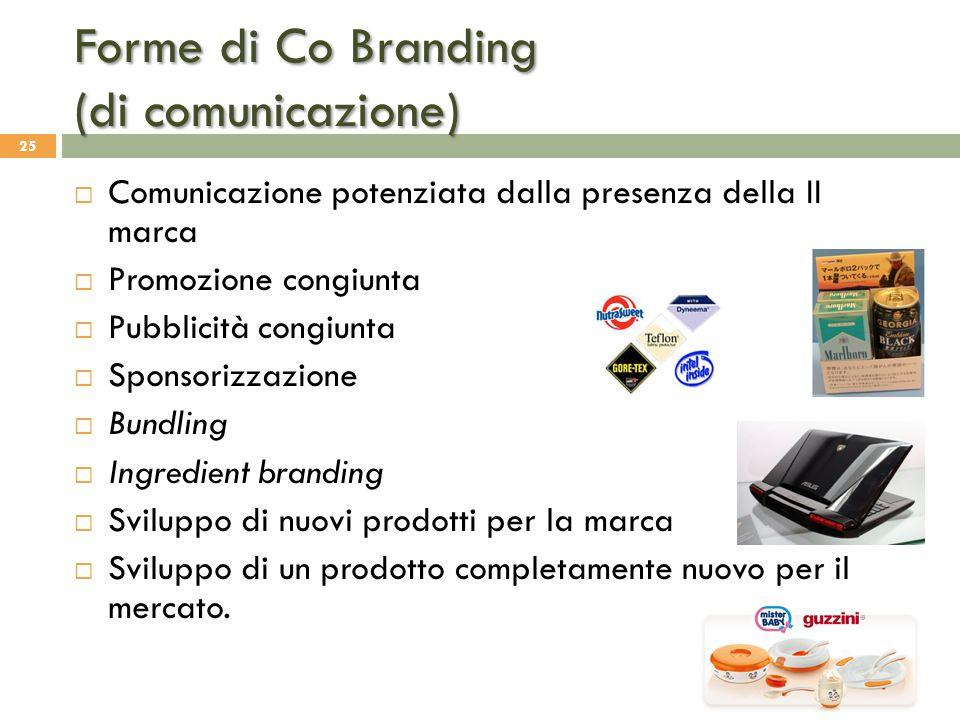 Forme di Co Branding (di comunicazione) 25  Comunicazione potenziata dalla presenza della II marca  Promozione congiunta  Pubblicità congiunta  Sp