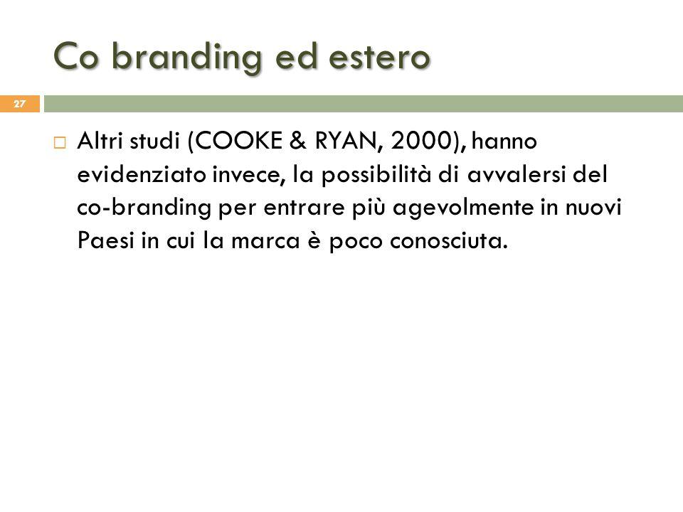 Co branding ed estero 27  Altri studi (COOKE & RYAN, 2000), hanno evidenziato invece, la possibilità di avvalersi del co-branding per entrare più age