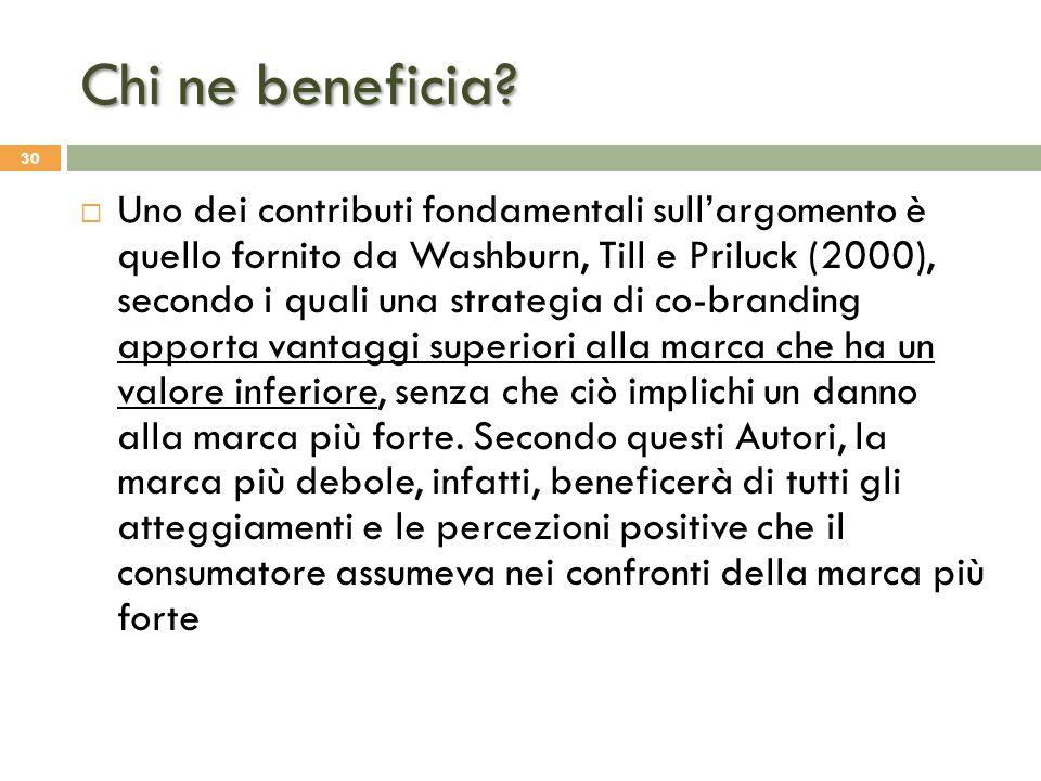 Chi ne beneficia? 30  Uno dei contributi fondamentali sull'argomento è quello fornito da Washburn, Till e Priluck (2000), secondo i quali una strateg