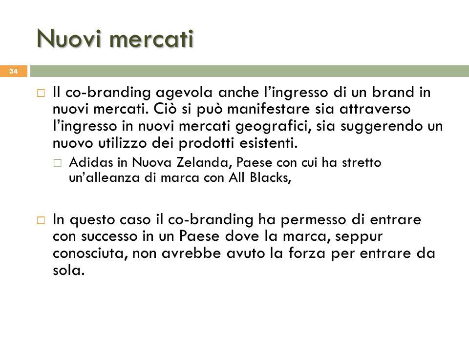 Nuovi mercati 34  Il co-branding agevola anche l'ingresso di un brand in nuovi mercati. Ciò si può manifestare sia attraverso l'ingresso in nuovi mer