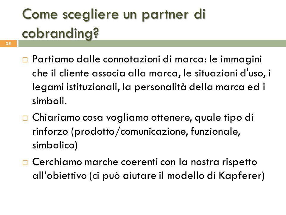 Come scegliere un partner di cobranding?  Partiamo dalle connotazioni di marca: le immagini che il cliente associa alla marca, le situazioni d'uso, i