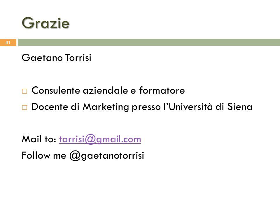 Grazie Gaetano Torrisi  Consulente aziendale e formatore  Docente di Marketing presso l'Università di Siena Mail to: torrisi@gmail.comtorrisi@gmail.