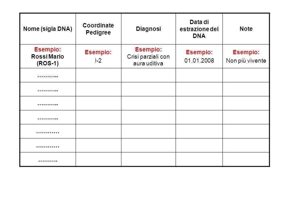 Nome (sigla DNA) Coordinate Pedigree Diagnosi Data di estrazione del DNA Note Esempio: Rossi Mario (ROS-1) Esempio: I-2 Esempio: Crisi parziali con au