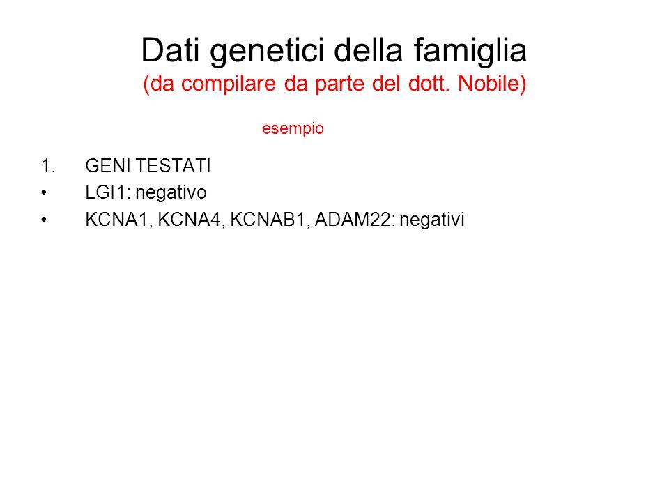 Dati genetici della famiglia (da compilare da parte del dott. Nobile) 1.GENI TESTATI LGI1: negativo KCNA1, KCNA4, KCNAB1, ADAM22: negativi esempio