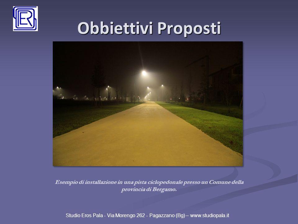 Obbiettivi Proposti Studio Eros Pala - Via Morengo 262 - Pagazzano (Bg) – www.studiopala.it Esempio di installazione in una pista ciclopedonale presso