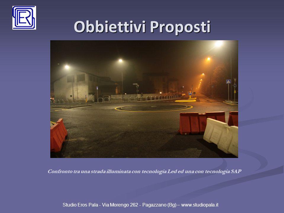 Obbiettivi Proposti Studio Eros Pala - Via Morengo 262 - Pagazzano (Bg) – www.studiopala.it Confronto tra una strada illuminata con tecnologia Led ed