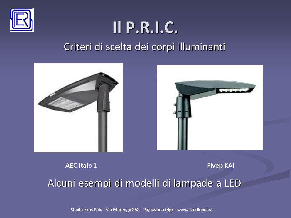 Il P.R.I.C. Criteri di scelta dei corpi illuminanti Studio Eros Pala - Via Morengo 262 - Pagazzano (Bg) – www. studiopala.it Alcuni esempi di modelli