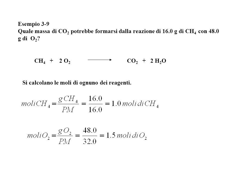 Esempio 3-9 Quale massa di CO 2 potrebbe formarsi dalla reazione di 16.0 g di CH 4 con 48.0 g di O 2 ? Si calcolano le moli di ognuno dei reagenti. CH
