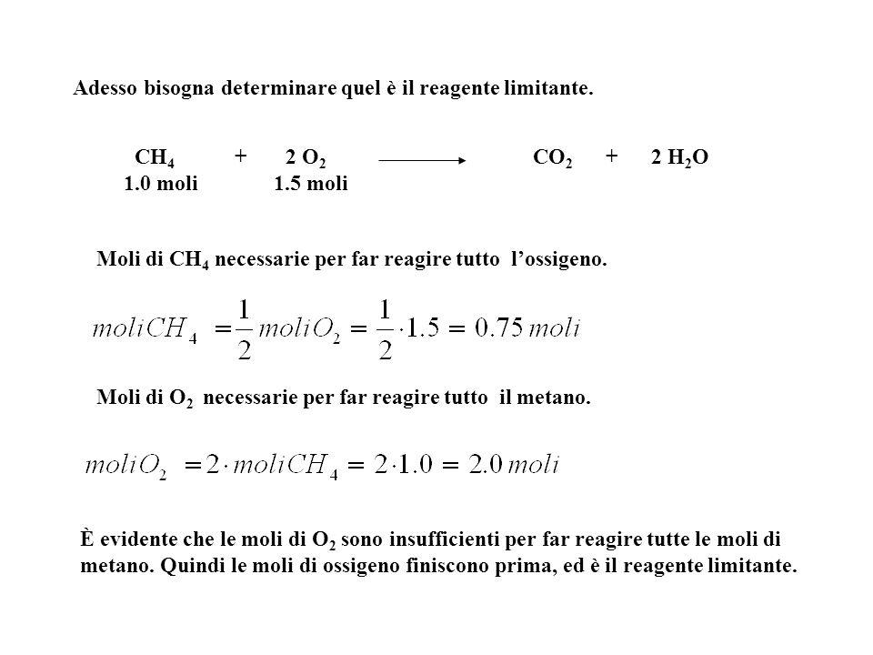 Adesso bisogna determinare quel è il reagente limitante. Moli di CH 4 necessarie per far reagire tutto l'ossigeno. Moli di O 2 necessarie per far reag