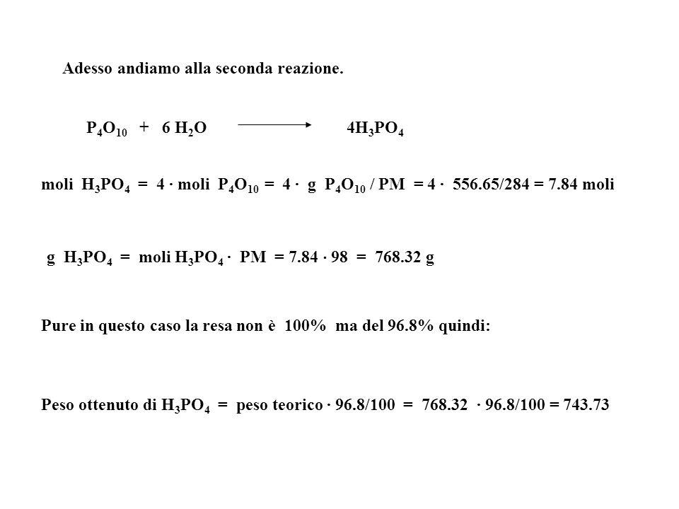 Adesso andiamo alla seconda reazione. P 4 O 10 + 6 H 2 O 4H 3 PO 4 moli H 3 PO 4 = 4 · moli P 4 O 10 = 4 · g P 4 O 10 / PM = 4 · 556.65/284 = 7.84 mol