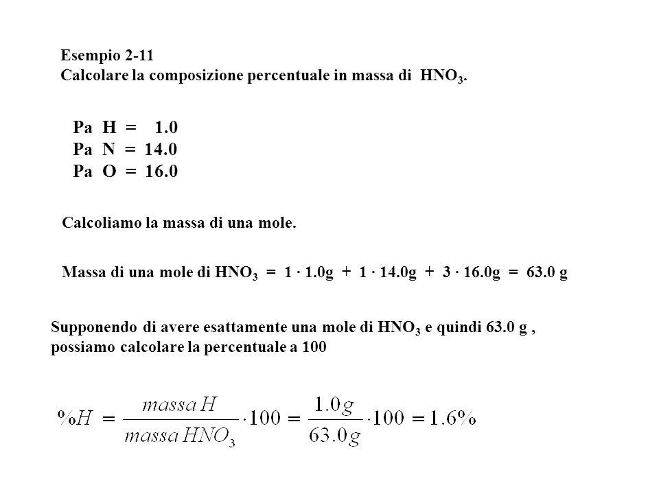 Esempio 2-11 Calcolare la composizione percentuale in massa di HNO 3. Calcoliamo la massa di una mole. Massa di una mole di HNO 3 = 1 · 1.0g + 1 · 14.