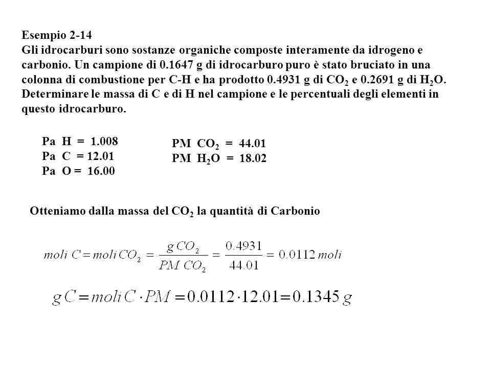 Esempio 2-14 Gli idrocarburi sono sostanze organiche composte interamente da idrogeno e carbonio. Un campione di 0.1647 g di idrocarburo puro è stato