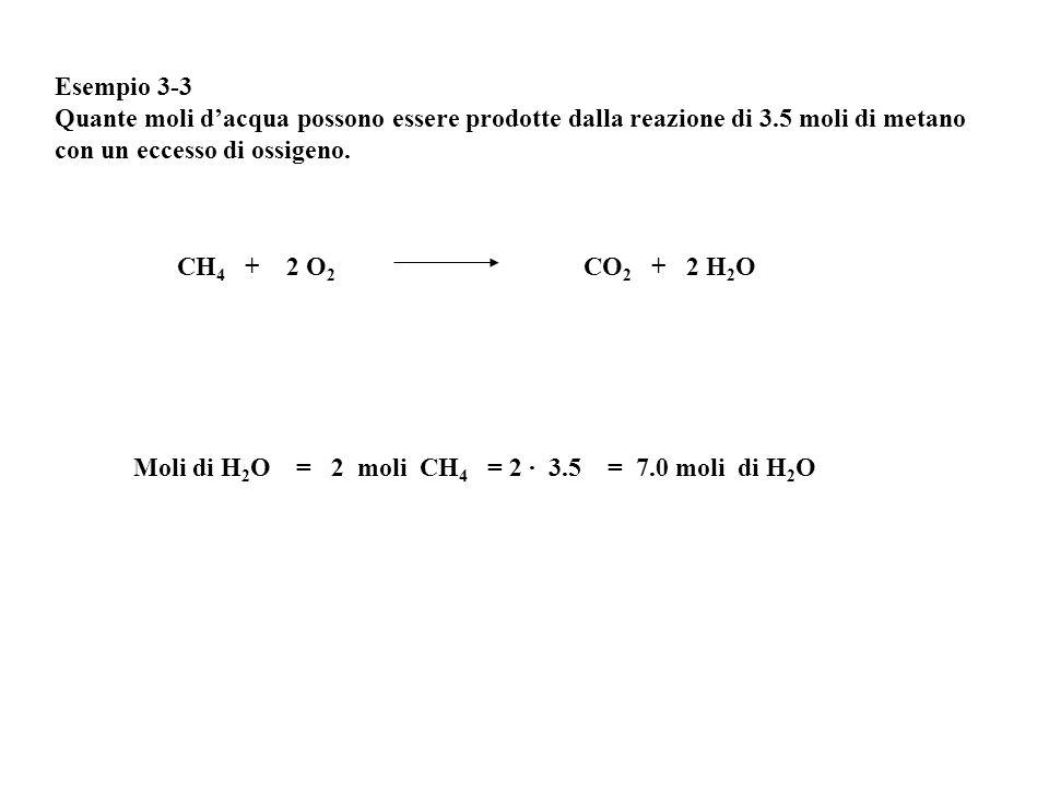 Esempio 3-3 Quante moli d'acqua possono essere prodotte dalla reazione di 3.5 moli di metano con un eccesso di ossigeno. Moli di H 2 O = 2 moli CH 4 =