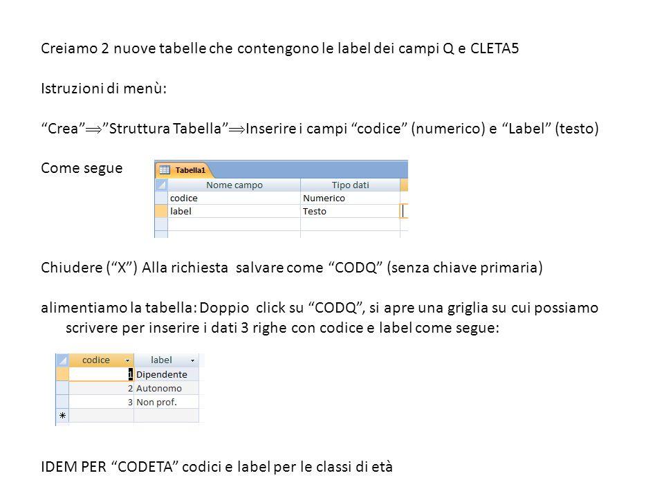 """Creiamo 2 nuove tabelle che contengono le label dei campi Q e CLETA5 Istruzioni di menù: """"Crea""""  """"Struttura Tabella""""  Inserire i campi """"codice"""" (num"""