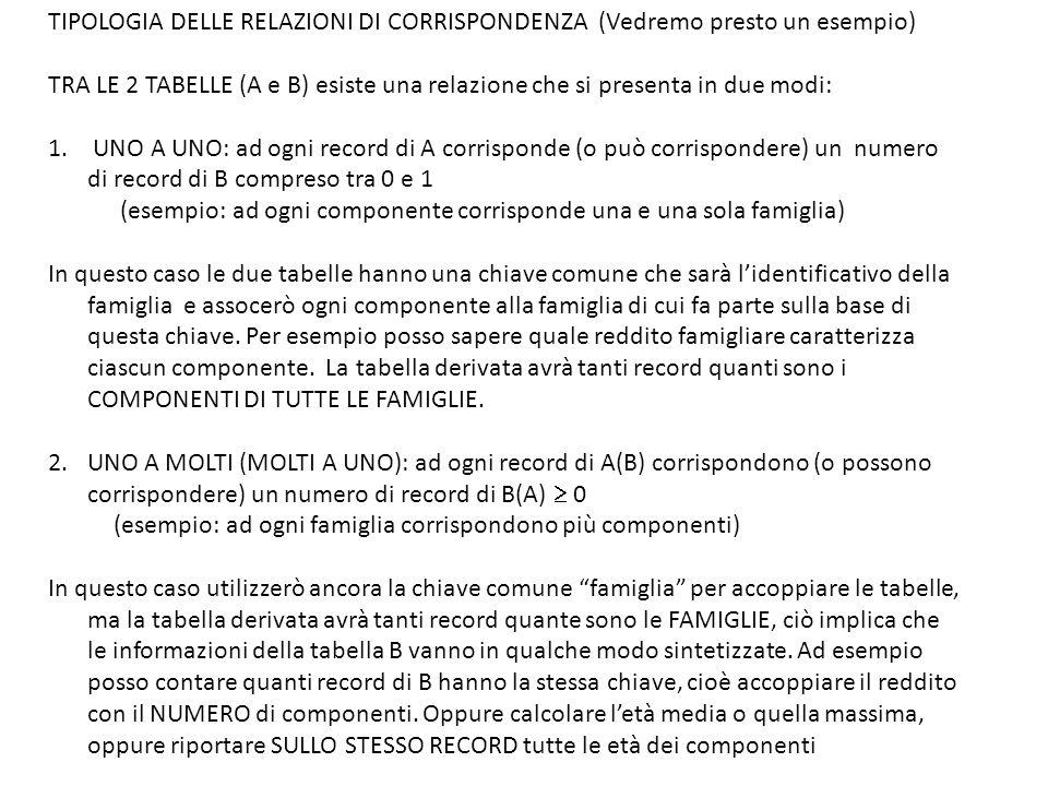TIPOLOGIA DELLE RELAZIONI DI CORRISPONDENZA (Vedremo presto un esempio) TRA LE 2 TABELLE (A e B) esiste una relazione che si presenta in due modi: 1.