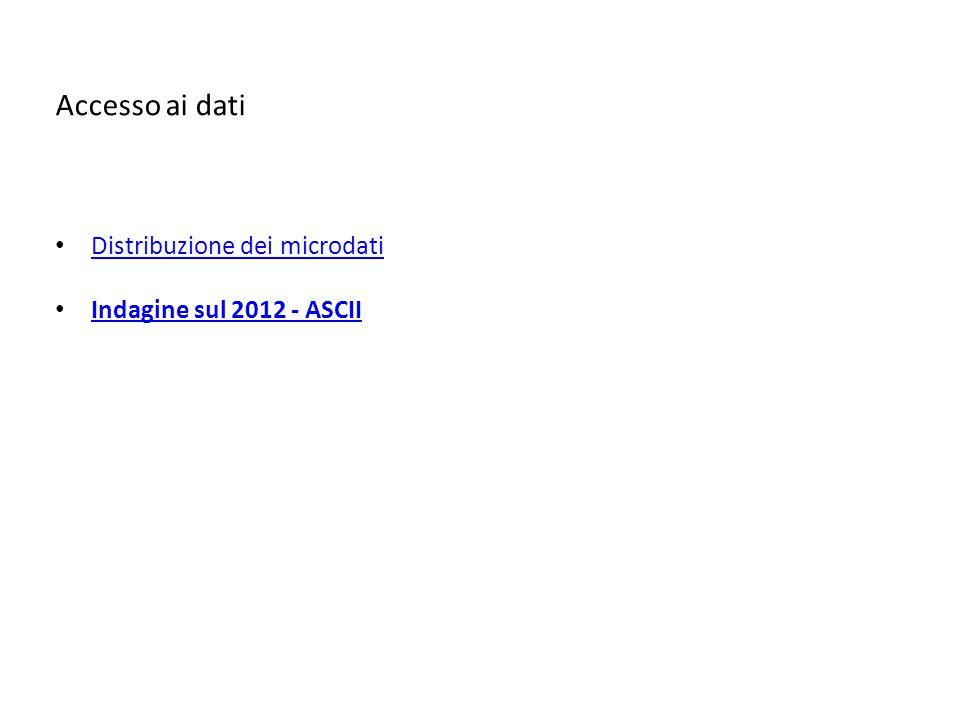 Accesso ai dati Distribuzione dei microdati Indagine sul 2012 - ASCII