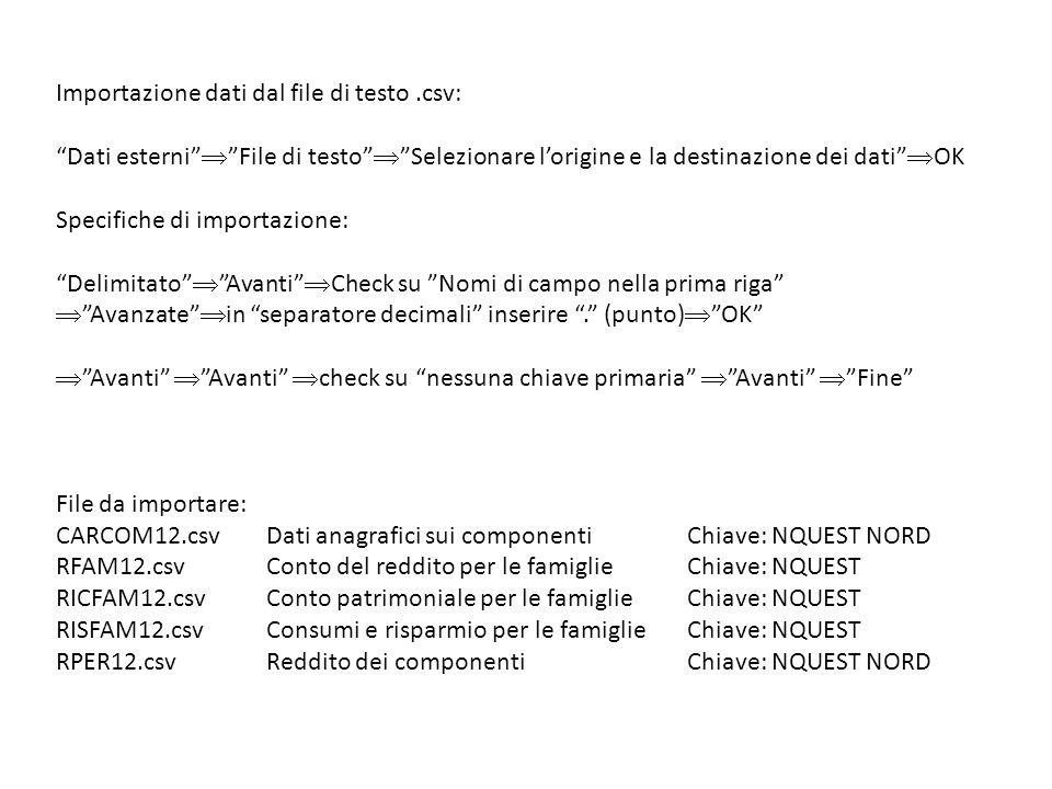 """Importazione dati dal file di testo.csv: """"Dati esterni""""  """"File di testo""""  """"Selezionare l'origine e la destinazione dei dati""""  OK Specifiche di impo"""