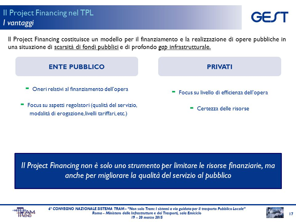 Il Project Financing costituisce un modello per il finanziamento e la realizzazione di opere pubbliche in una situazione di scarsità di fondi pubblici