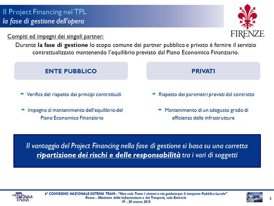 Compiti ed impegni dei singoli partner: Durante la fase di gestione lo scopo comune dei partner pubblico e privato è fornire il servizio contrattualiz