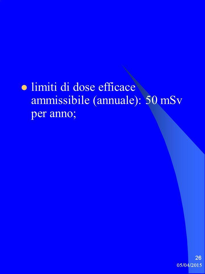 limiti di dose efficace ammissibile (annuale): 50 mSv per anno; 05/04/2015 26
